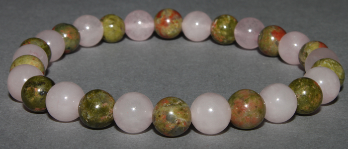 Bracelet Quartz Rose et Unakite 6 mm / 10 mm