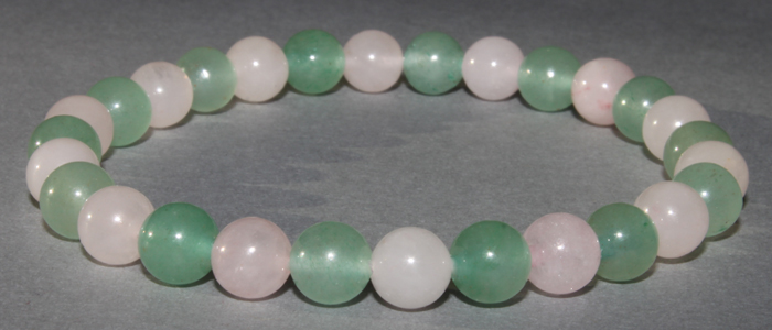 Bracelet Aventurine et Quartz Rose 6 mm / 8 mm